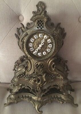 Vintage Mantle Clock Hand Crafted in Poland Solid Bronze/Brass Hand Made 1970's*