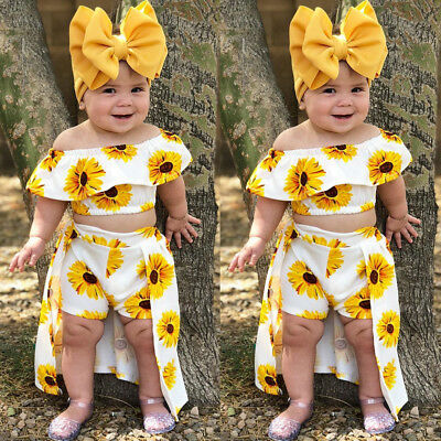 3PCS Kids Baby Girl Clothes Sunflower Crop Tops Shorts Dress Outfit Sunsuit Hot
