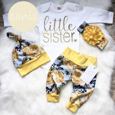 US Flower Newborn Baby Girl Little Sister Romper Pants Hat Outfits Clothes Hot