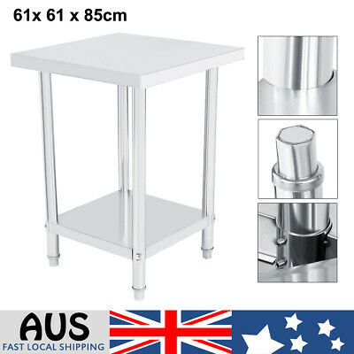 610x610mm Commercial 430 Stainless Steel Kitchen Work Bench Food Prep Table