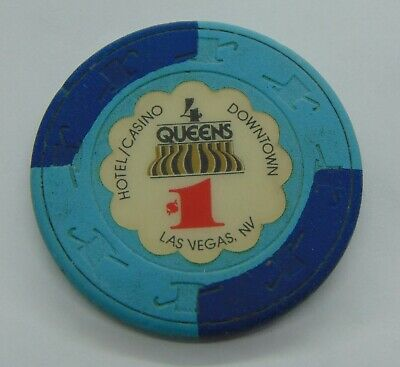 Casino Chip $1 4 Queens Downtown Las Vegas Poker Gambling