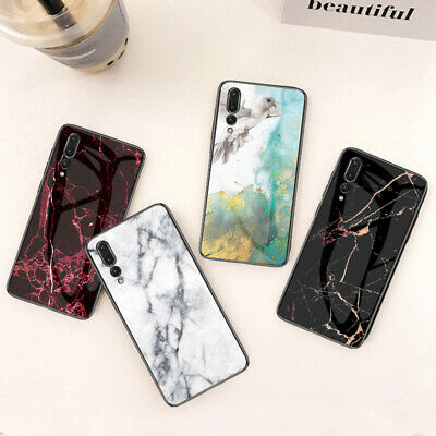 Luxury Marble Tempered Glass Case Cover For Huawei P Smart 2019/P30 Lite/P20 Pro