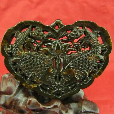 Chinese old black hand carved Exquisite double fish heart shape pendant D1019