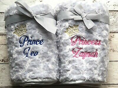 Personalised Luxury Baby Blanket Princess Prince Grey Embroidered New Baby Gift