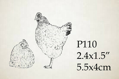 P110 Chickens rubber stamp