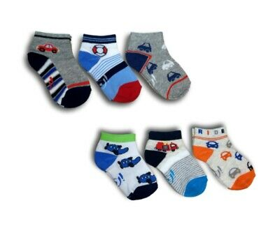 Baby Toddler Boys Cotton Ankle Trainer Summer Socks 3 Pairs Multi Buy 12M-3Y