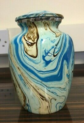 Medium Blue Marble With Brown Pattern Urn.Suitable For Human/Pet Ashes - 13