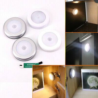 6 LED Motion Sensor Light In/Outdoor Wall Stair Shed Lamp Battery Stick
