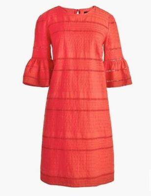 J CREW Red Orange Flutter Sleeve Eyelet Lace Shift Dress UK 14 Summer Holidays