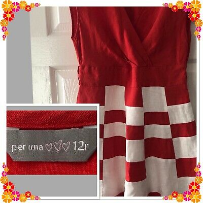 Per Una Red And White 100% Linen A Line Flared Dress - Uk 12 - Holidays Summer