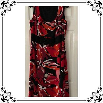 JOANNA HOPE floral bold black a line dress with beading - UK 18 Holidays Wedding