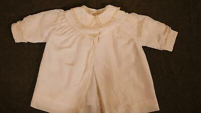Antique Ivory Christening Dress Cover Outwear Embroidered Satin Doll Girl Infant