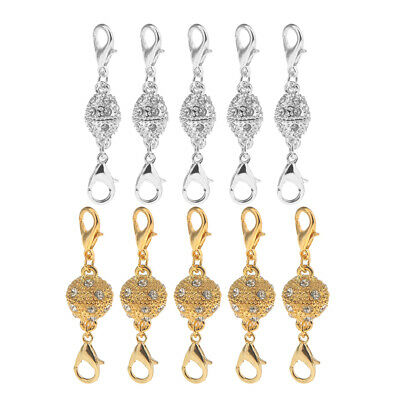 10Set Magnetic Jewelry Lobster Clasps Gold & Silver Plated Necklace Bracelet