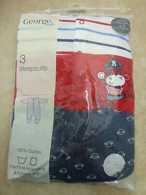 George Asda Baby Boys 3 Pack 100% Cotton Sleepsuits 9-12 Months NEW Blue/Red
