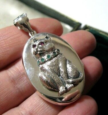 Vintage Style Victorian Hallmarked Sterling Silver Large Gem Stone CAT LOCKET