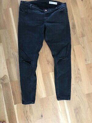 Asos Maternity Jeans Black Ripped Size 12