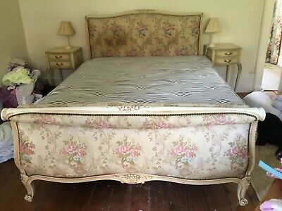 beautiful antique french Lit Bateau king size bed + platform and mattress