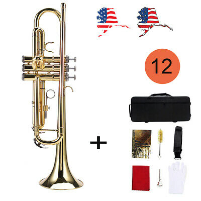 Bb Trumpet Brass Gold Concert Band Tuner Bag Care Kit Musical Set for Beginner