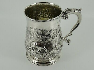 Georgian George Iii Solid Sterling Silver Embossed One Pint Tankard London 1762