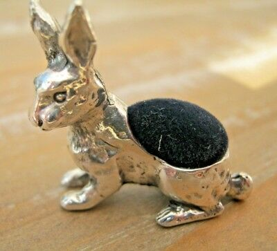 Pretty Antique Style English Hallmarked Sterling Silver Hare Rabbit Pin Cushion