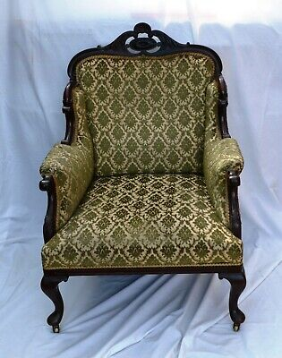 Antique Victorian Solid Mahogany French Salon Armchair A/F