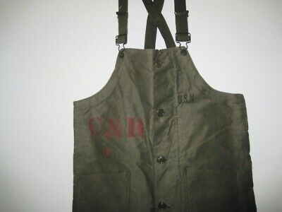 Vintage WWII US NAVY Stenciled Green Deck Bib Overalls Pants Size SMALL