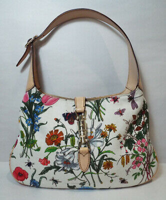 4400b6ee6fa2 Gucci AUTHENTIC Jackie O Bag Flora Collection White Floral Hobo Shoulder  Purse