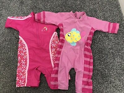 2 X Baby Girls UV Sunsuit Age 9-12 Months Pink