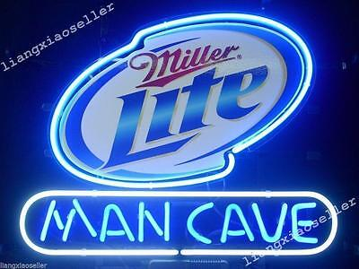 17X14 New Miller Lite Man Cave REAL NEON SIGN BEER BAR PUB LIGHT Free Shiping