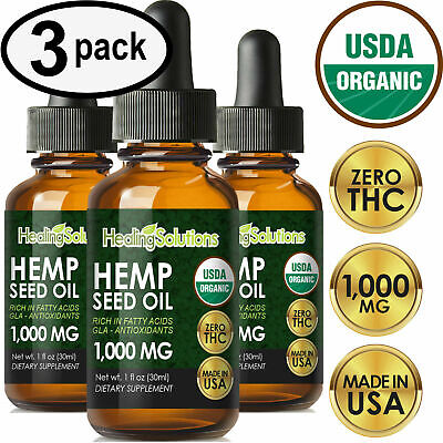 Premium Hemp Oil Extract for Pain Relief, Stress, Keto, Anxiety, Sleep (3 PACK)