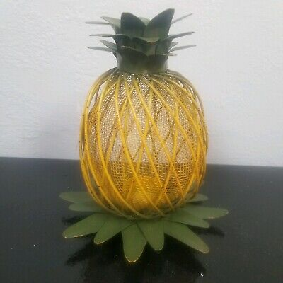 e478fd9d5b Metal green and yellow Finish Pineapple Lantern Tealight Candle Holder