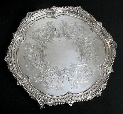 """Magnificent Antique Sheffield English Plate 12"""" Ball-Claw Footed Cake Tray"""
