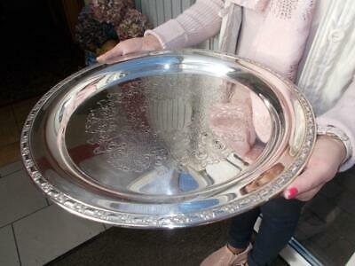 """Large Circular Silver Plated Serving Tray Almost 17"""" Across"""