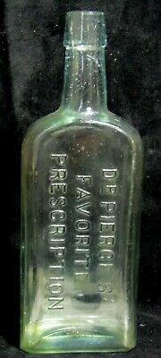 Antique Embossed Aqua Glass Bottle - Dr Pierce's Favorite Prescription - Quack