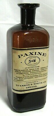 Antique Stearns & White Paxine Quack Medicine Bottle - Modes Turner Glass Mark