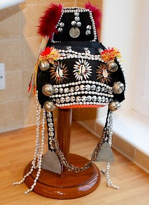 Vintage Akha Hill Tribe Traditional Tribal Hat Size L Mans Thailand 1970's Asia