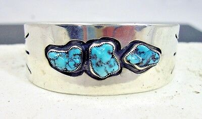 Vintage Hand Made Sterling Silver Turquoise Cuff Bracelet Unknown Designer