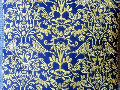 Vintage Cotton Gold Embroidered Love Birds Cushions Pair X 2