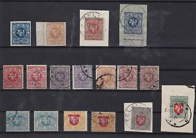 lithuania mounted mint used +on piece from 1919 stamps ref 7521