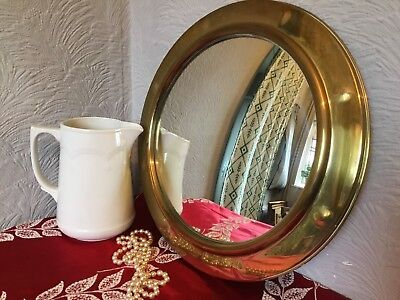 Antique Arts and Crafts Porthole Convex Brass Framed Mirror #4606