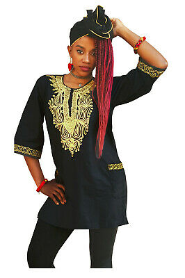 Traditional African Dashiki Top with Golden yellow embroidery S to 7XL