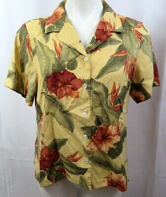 fe237399 Tommy Bahama Womens sz Large 12/14 Camp Shirt Silk Yellow Floral S/S