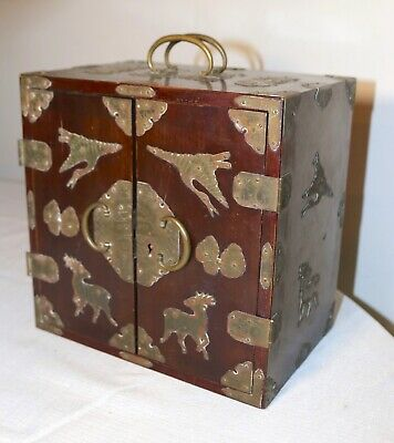 antique ornate Chinese wood engraved brass bronze jewelry chest box stand
