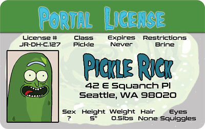 Rick and Morty show PICKLE RICK SANCHEZ  fake ID card Drivers License driver's