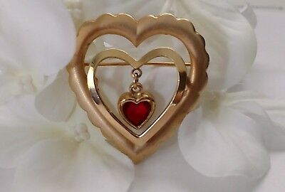 Vintage Gold Tone Red Heart Shaped Brooch Pin