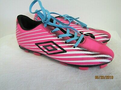e78e8181e EUC Umbro ARTURO 2.0 Pink Black w/ Blue Laces Youth Kids Soccer Shoes Cleats  1