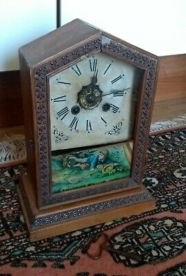 A Nice Antique Pine Mantel Clock American* Paper Card Dial*
