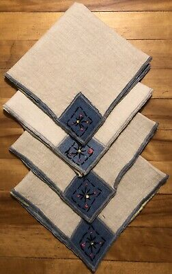 Vintage Unique Estate Tea Luncheon Linen Napkins with Hand Embroidery - Set of 4