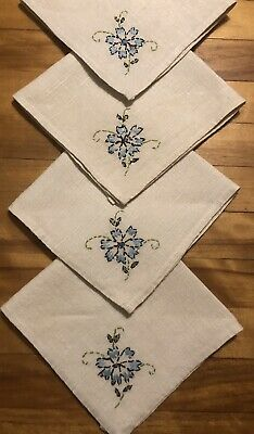 Vintage Estate Tea Luncheon Linen Napkins w/ Hand Embroidered Flowers ~ Set of 4