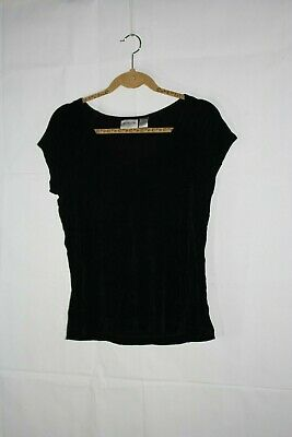 Chico's Womens black short sleeve Travelers top shirt pull over stretch Sz 1 (M)